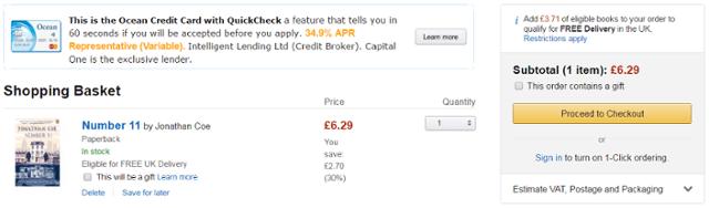 Amazon basket page