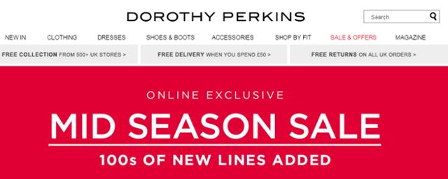 Dorothy Perkins homepage