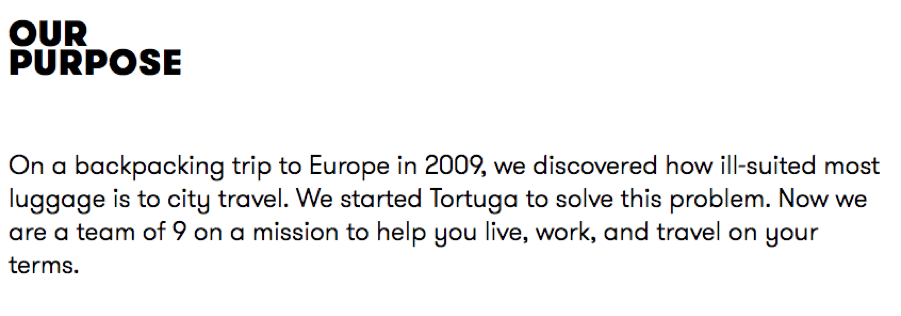 Tortuga 'about us' story'