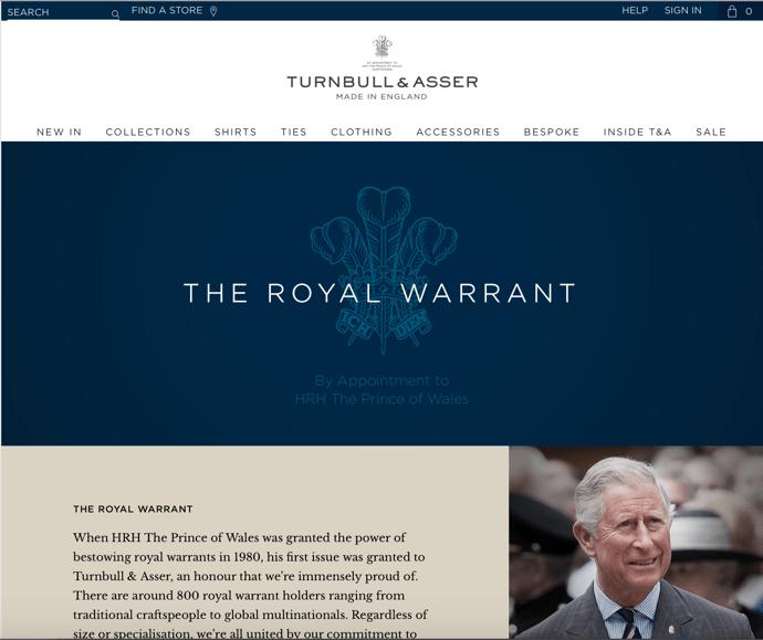 Turnbull & Asser royal warrant