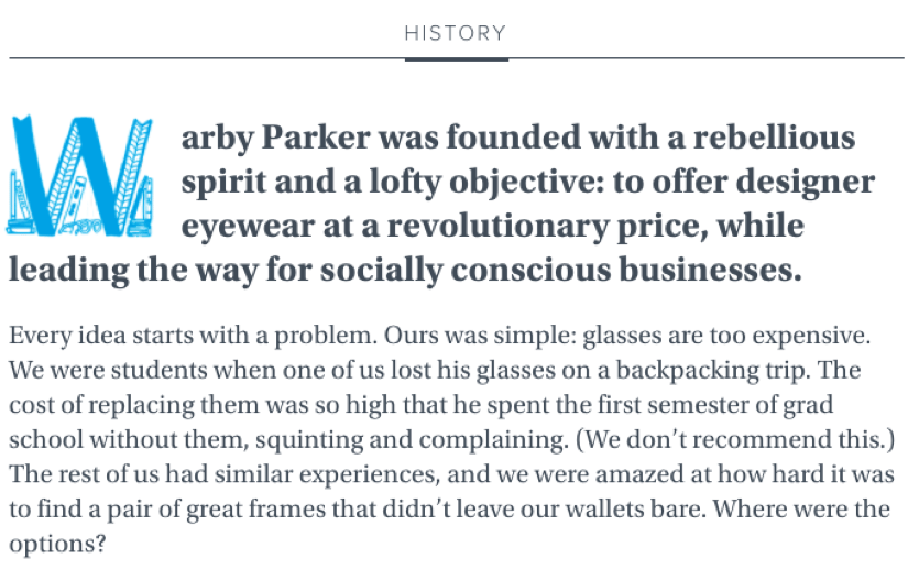 Warby Parker 'about us' story'
