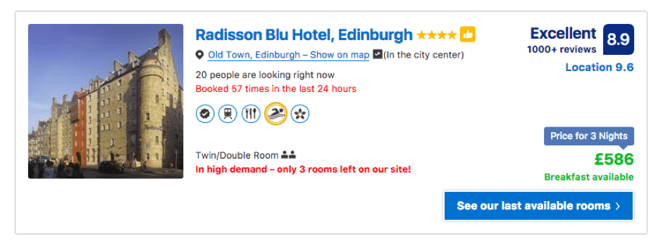 Booking.com urgency to purchase example