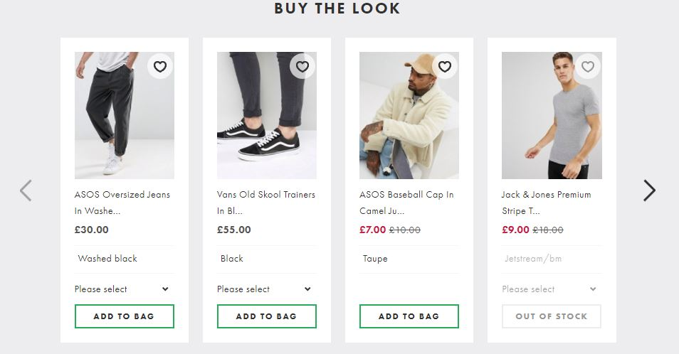 ASOS cross-sell example increase order value