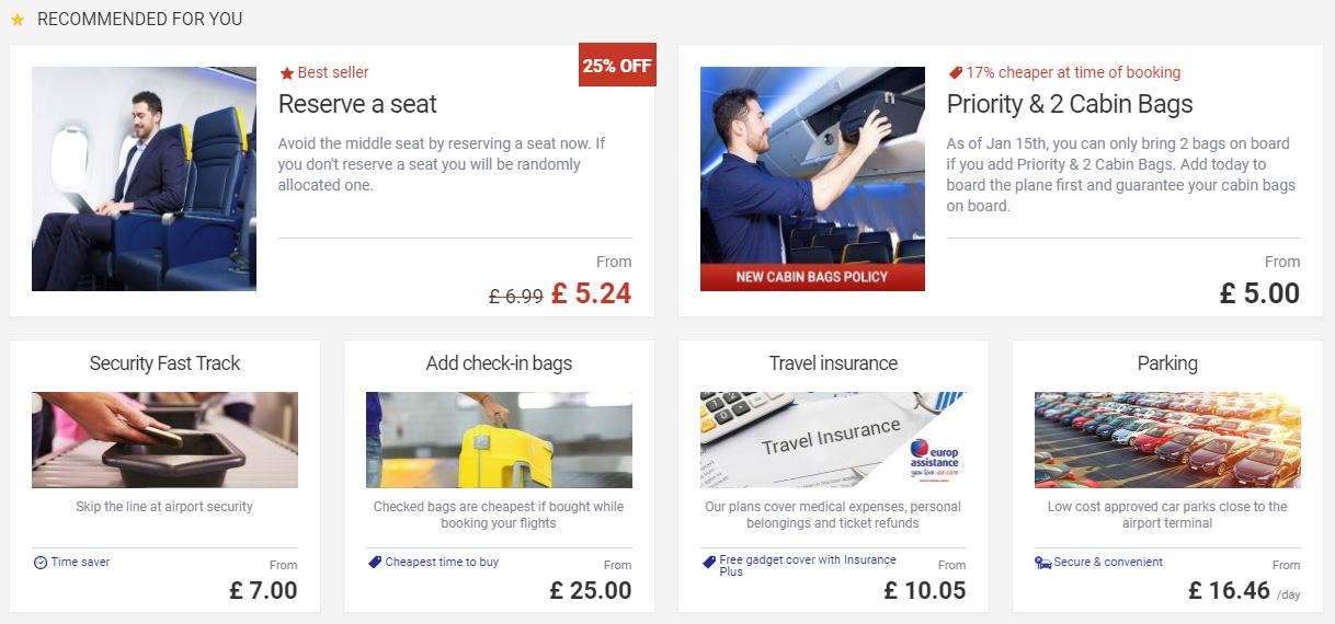 Ryanair upselling tactics 2 increase order value