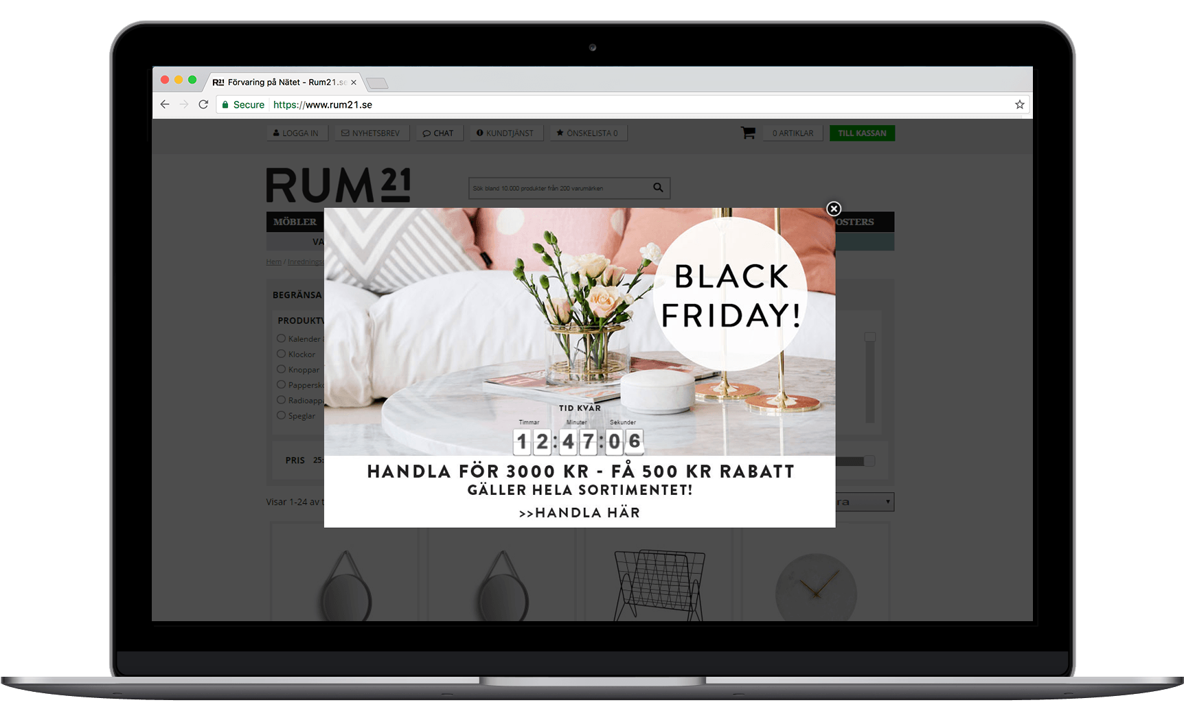 Homewear retailer Rum21 use a countdown timer on Black Friday