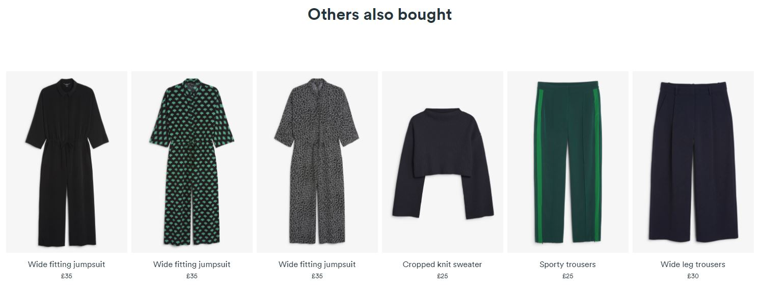 Monki social proof cross-sell example increase order value