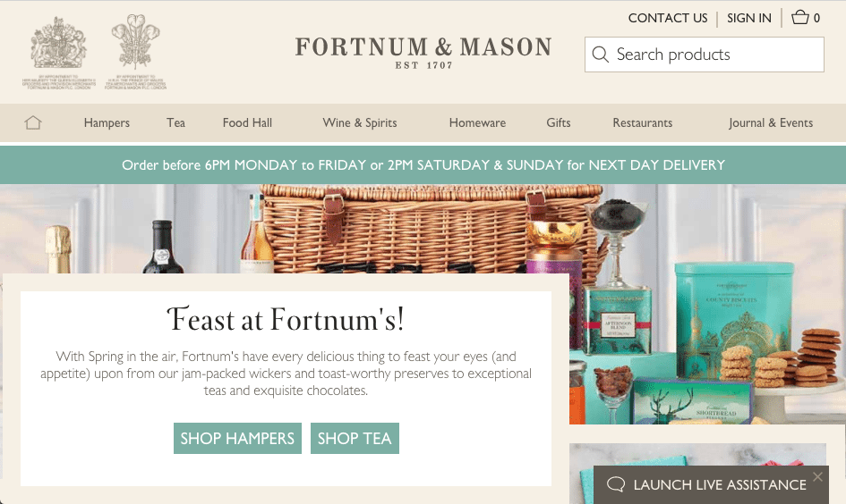 Fortum & Mason highlight delivery options on its website