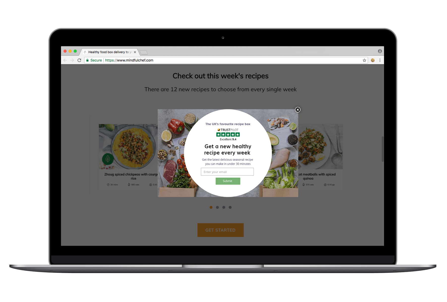 Mindful Chef Trustpilot overlay example