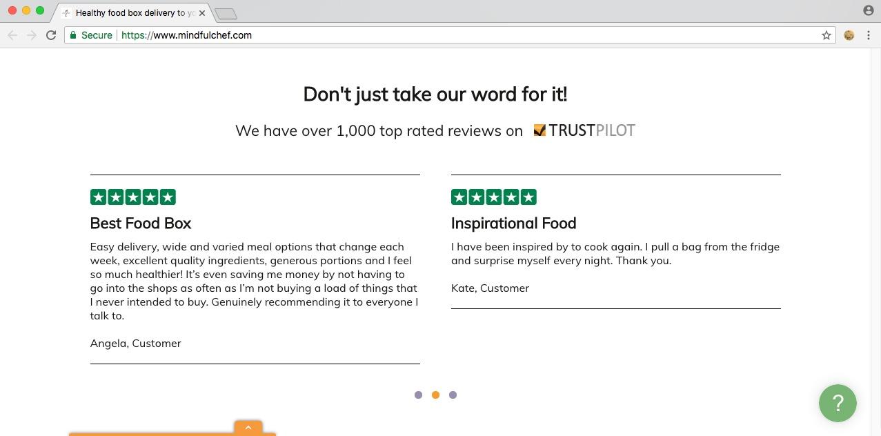 Mindful Chef utilise Trustpilot reviews