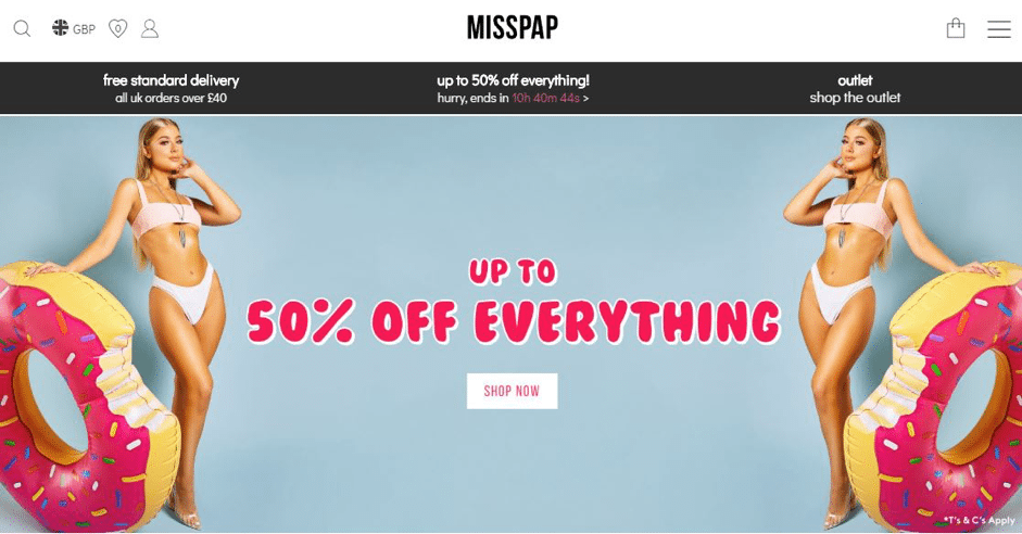 Fashion retailer MissPap use a countdown timer