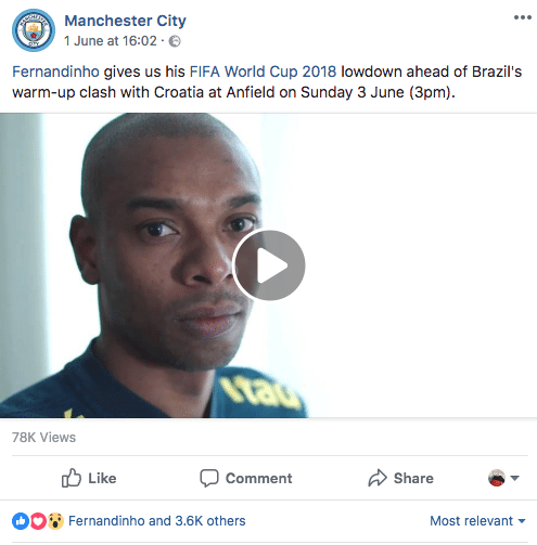 Manchester City use behind-the-scenes video content on social