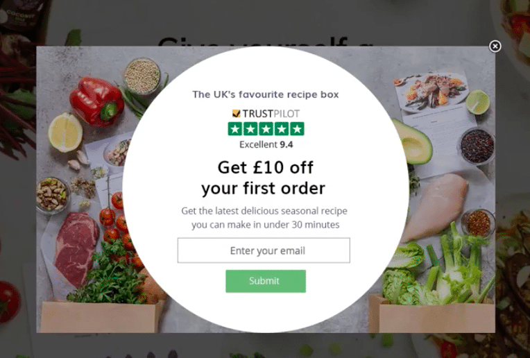 Mindful Chef Yieldify and Trustpilot overlay
