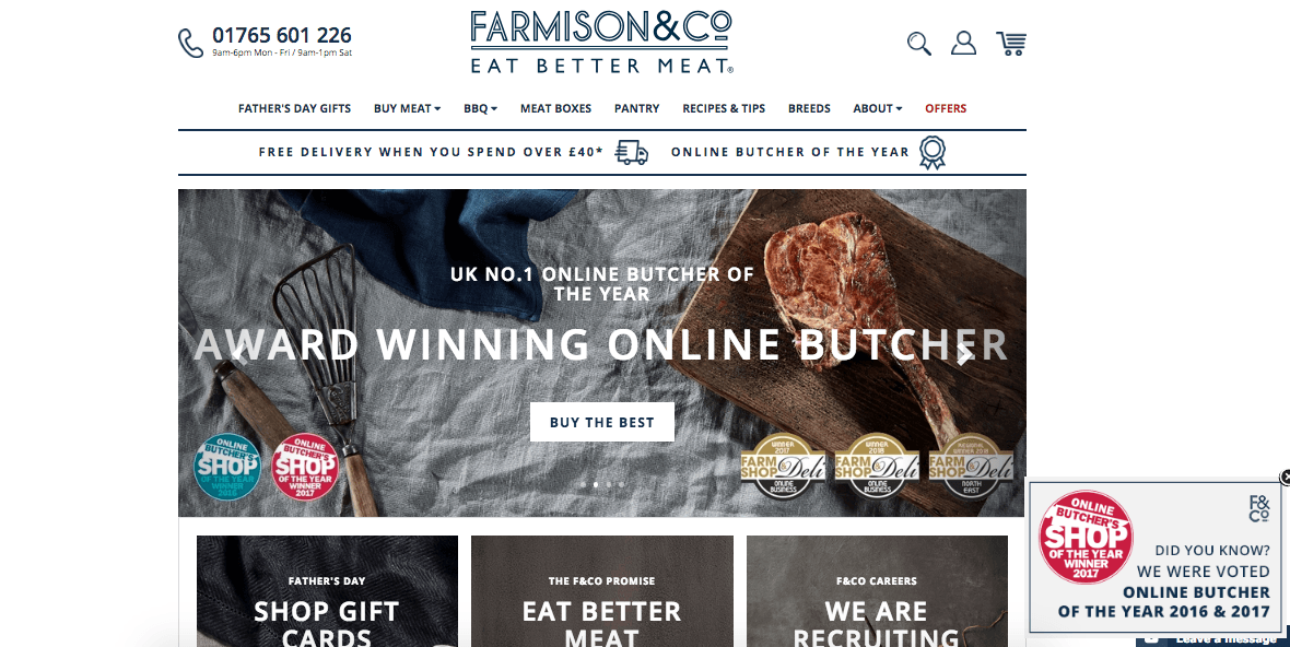 Farmison & Co highlights its award winning products with Yieldify Notifications