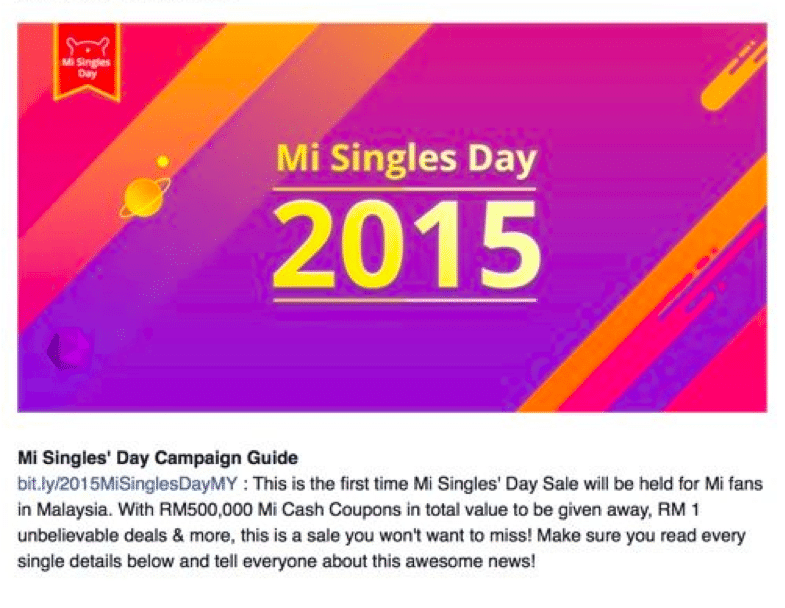 Singles' Day on Malaysian social network Mi